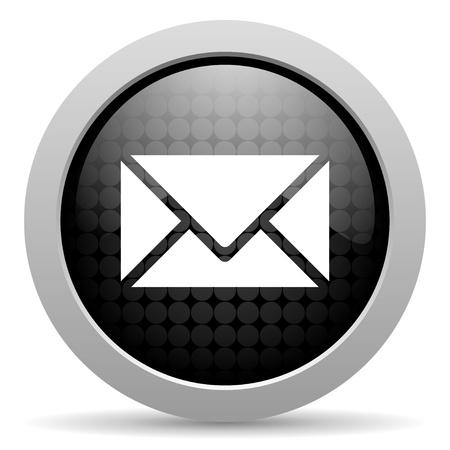 Email czarny błyszczący ikona koło internetowej