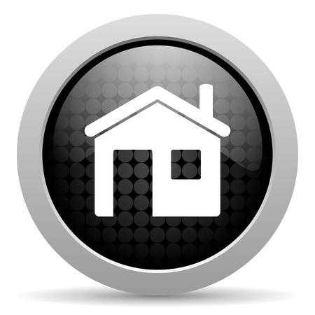 icono home: hogar negro del icono del c�rculo brillante de la web Foto de archivo