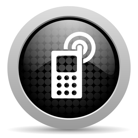 3d contact us: cellphone black circle web glossy icon  Stock Photo