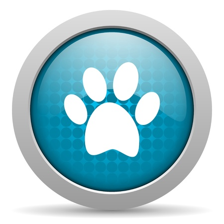 animal footprint blue circle web glossy icon  photo