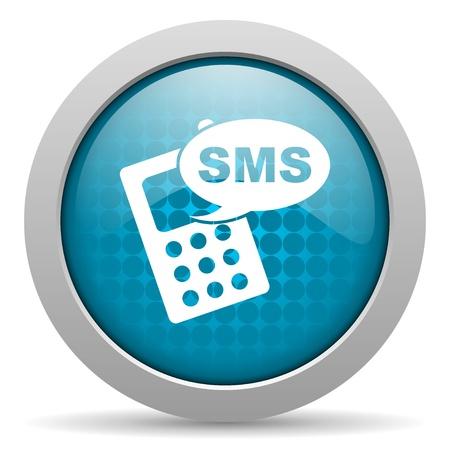 sms blue circle web glossy icon Stock Photo - 19348234