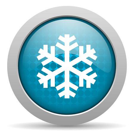 snowflake blue circle web glossy icon Stock Photo - 19348285