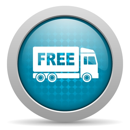 free delivery blue circle web glossy icon  photo