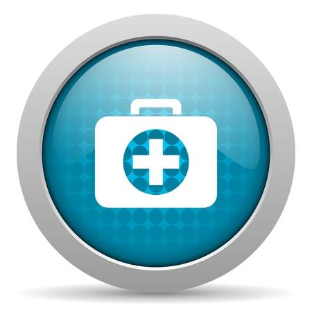 first aid kit blue circle web glossy icon  photo