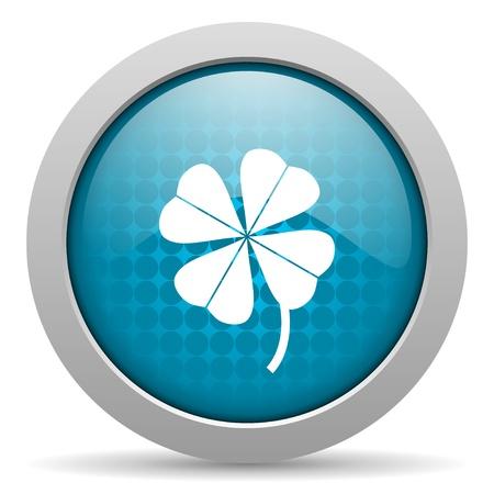 fourleaf: four-leaf clover blue circle web glossy icon  Stock Photo