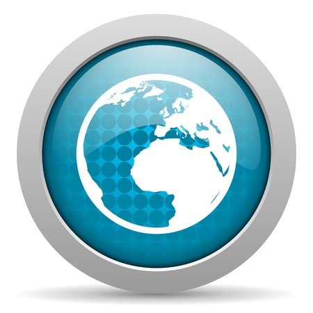 earth blue circle web glossy icon  photo