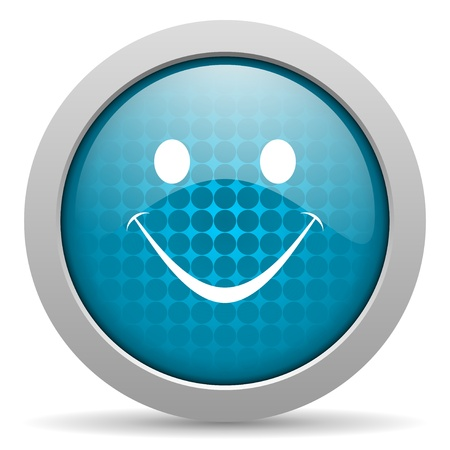 smile blue circle web glossy icon Stock Photo - 19348296