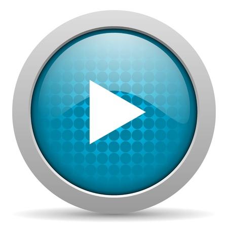 play blue circle web glossy icon Stock Photo - 19348000