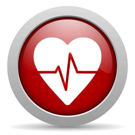 cardiogram red circle web glossy icon Stock Photo - 19461777