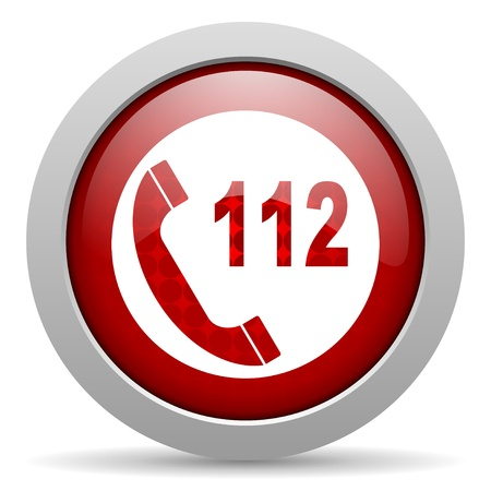 emergency call red circle web glossy icon