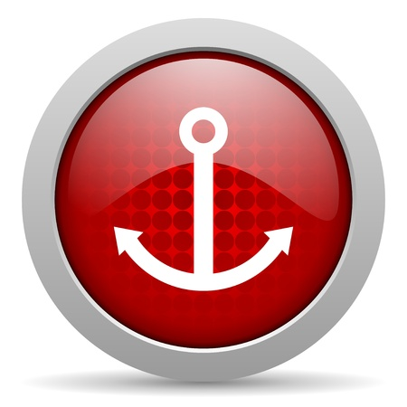 anchor red circle web glossy icon  photo
