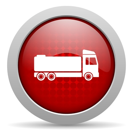 truck red circle web glossy icon  photo