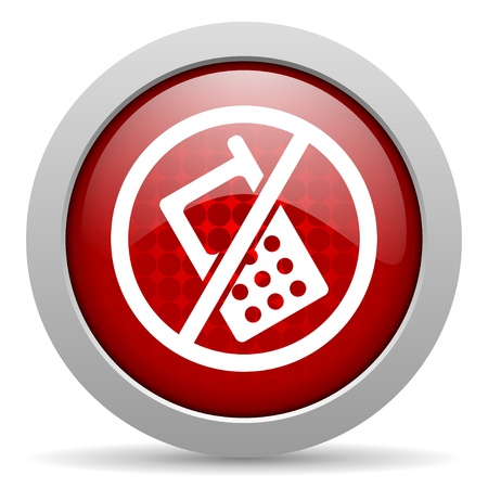 no phones red circle web glossy icon  photo