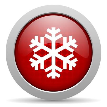 snowflake red circle web glossy icon Stock Photo - 19468112