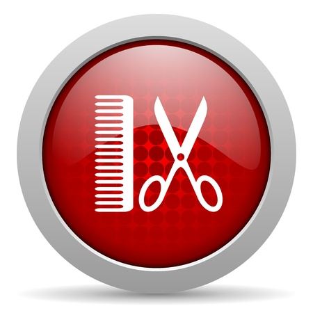 barber red circle web glossy icon  photo