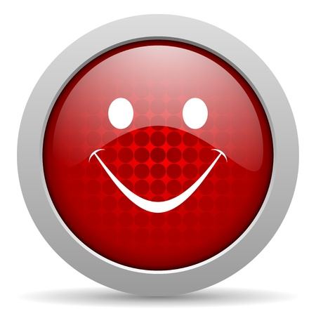 smile red circle web glossy icon Stock Photo - 19467346