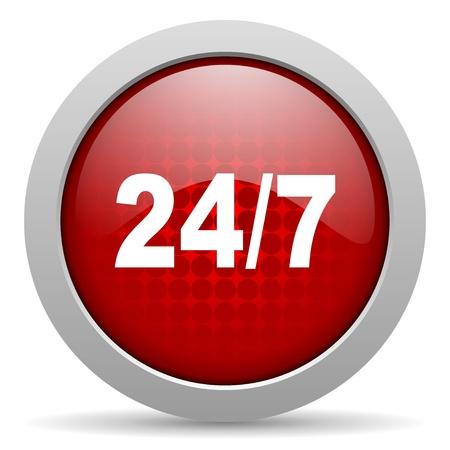 247 red circle web glossy icon  photo