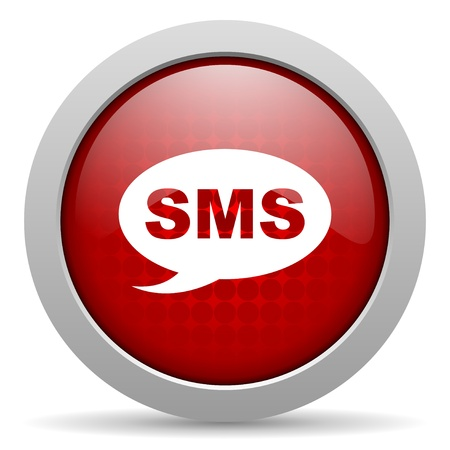 sms red circle web glossy icon  photo