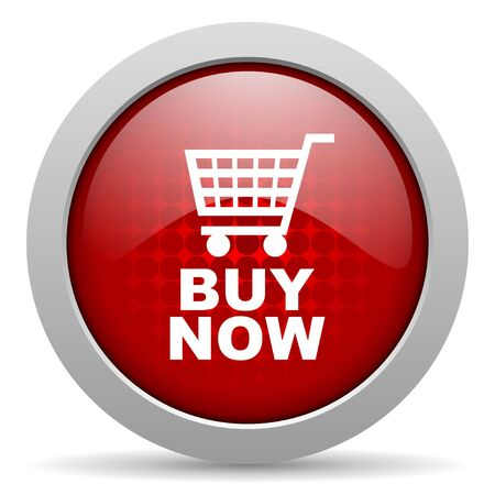 buy now red circle web glossy icon Stock Photo - 19468104