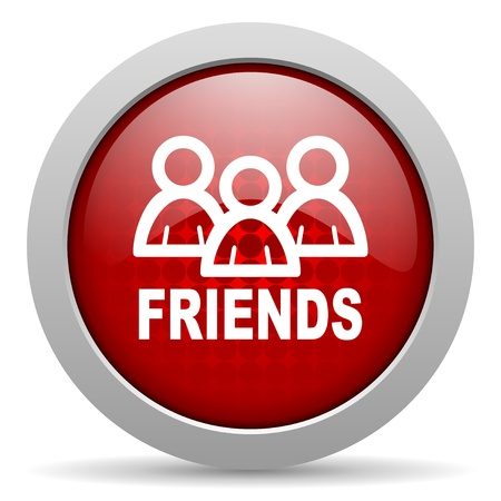 friends red circle web glossy icon  photo