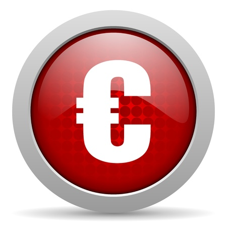 euro red circle web glossy icon  photo