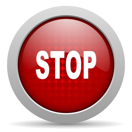 stop red circle web glossy icon Stock Photo - 19466204
