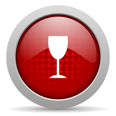 champain: glass red circle web glossy icon