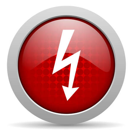 lightning red circle web glossy icon  photo