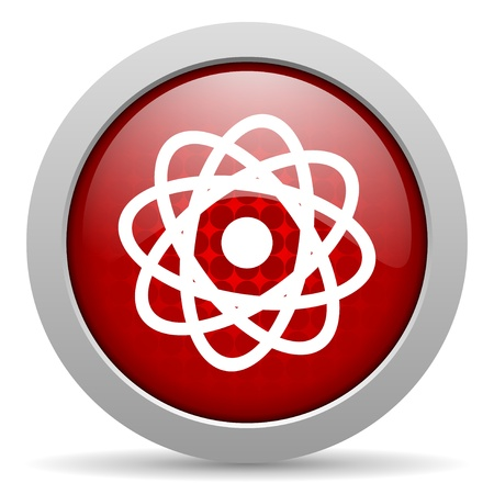 atom red circle web glossy icon  photo