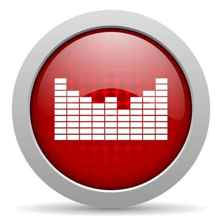 sound red circle web glossy icon  photo
