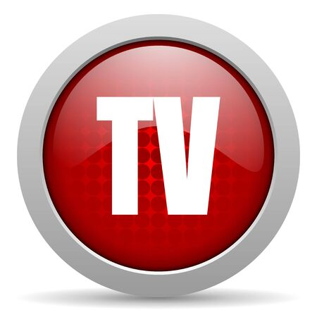 tv red circle web glossy icon  photo