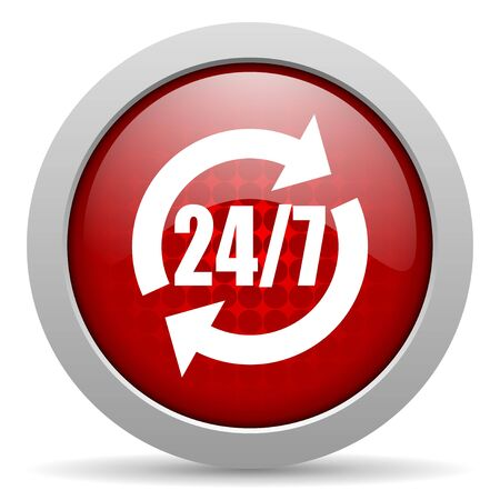 247 service red circle web glossy icon  photo