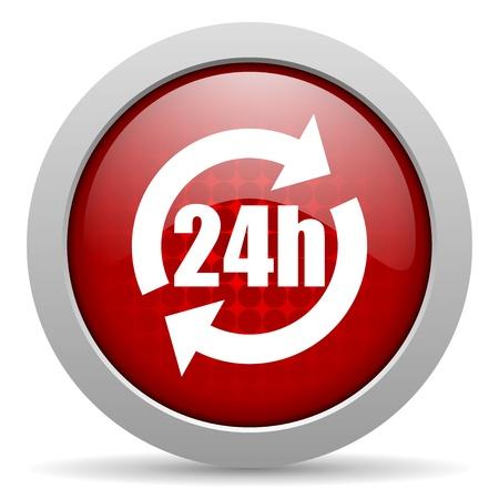 24h red circle web glossy icon   photo