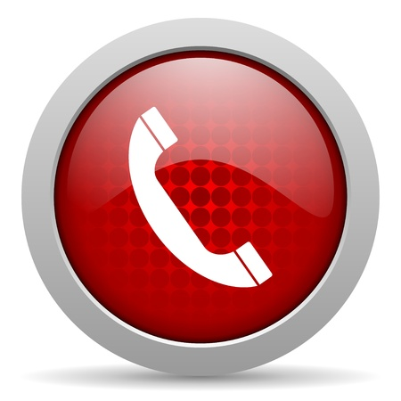 phone red circle web glossy icon Stock Photo - 19467198