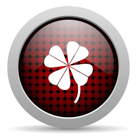 fourleaf: four-leaf clover glossy icon  Stock Photo