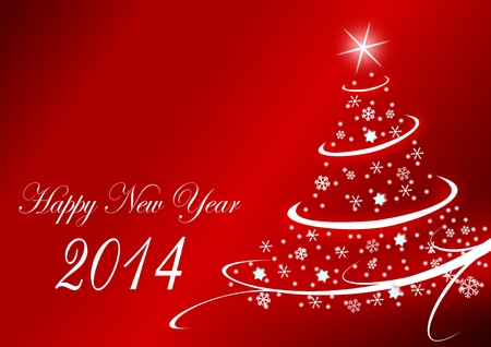 2014 new years illustration with christmas tree illustration