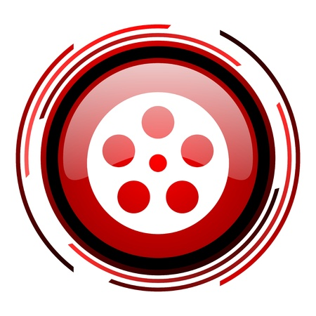 film red circle web glossy icon on white background  photo