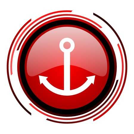 anchor red circle web glossy icon on white background  photo