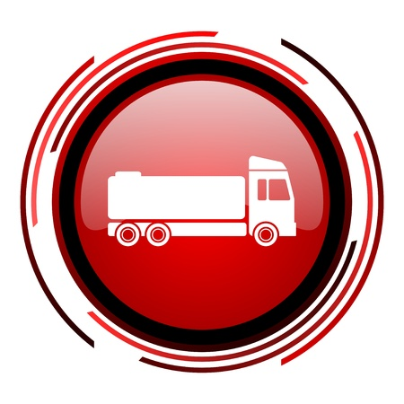 truck red circle web glossy icon on white background  photo