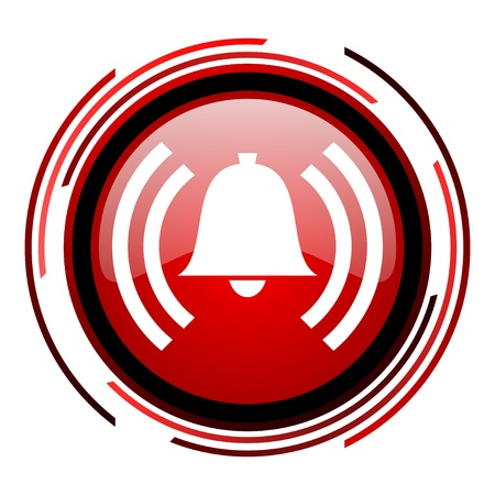 alarm red circle web glossy icon on white background  photo