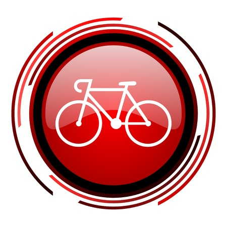 bicycle red circle web glossy icon on white background  photo