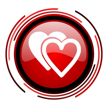 love red circle web glossy icon on white background  photo