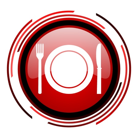 alimento c�rculo rojo icono de web brillante en el fondo blanco photo