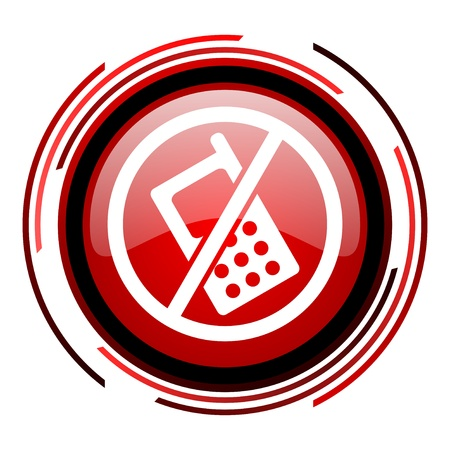 no phones red circle web glossy icon on white background  photo
