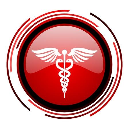 caduceo: caduceo c�rculo rojo icono de web brillante en el fondo blanco Foto de archivo