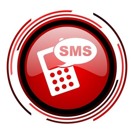 sms red circle web glossy icon on white background  photo
