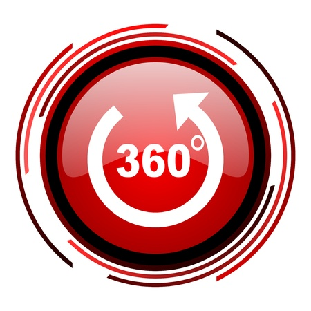panorama rode cirkel web glanzende pictogram op witte achtergrond