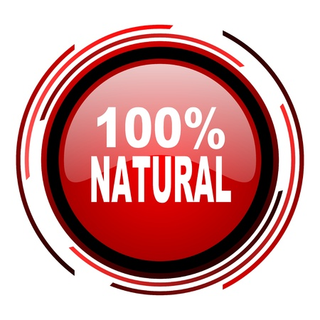natural red circle web glossy icon on white background  photo