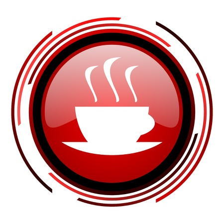 Kaffee roten Kreis web glossy Symbol auf weißem Hintergrund