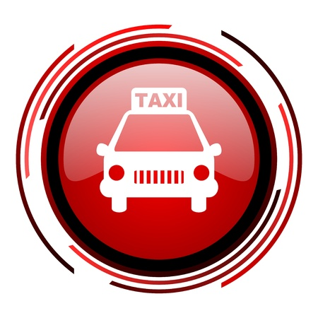 taxi: taxi rojo c�rculo web brillante icono en el fondo blanco